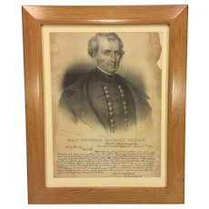Antique Stone Lithograph of Major General Zachary Taylor w/ Reproduction 1847 Letter to Party During Mexican War