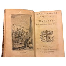 Antique Book Marci Annaei Lucani Pharsalia 1767 Cum Supplemento Thomae Maii Luca Nus