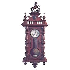 Antique FMS Friedrich Mauthe Schwenningen Clock Vienna Regulator with Horse Finial & Topper Runs &  Strikes Germany