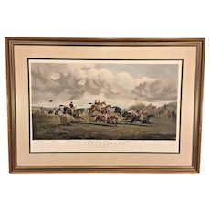 Vtg Punchestown The Conyngham Cup 1872 The Stone Wall Steeplchase Framed & Matted by Newman Gallery of Philadelphia PA