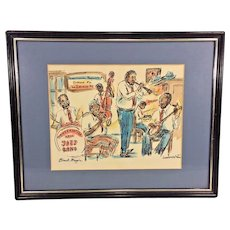 Vintage Jazz Hand Colored Sketch by Donabeth Jones Preservation Hall Jazz Band in Frame