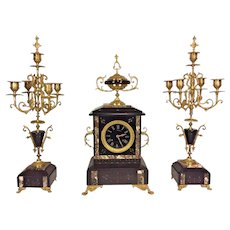 Antique Japes Freres French Bell Clock Runs & Strikes w/ Pair of Matching Candlestick Garnitures 15 Day Movement