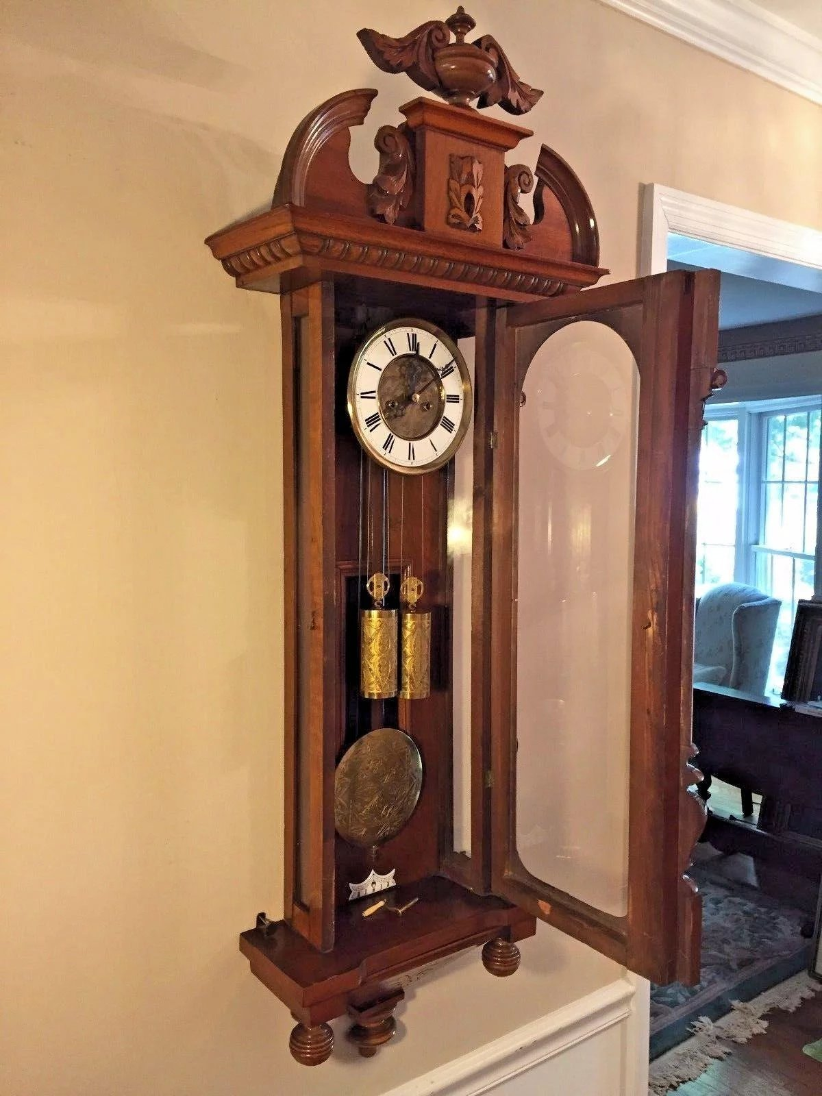 Antique 1885 Gustav Becker Vienna Regulator Wall Clock