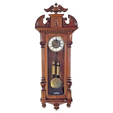 Antique 1885 Gustav Becker Vienna Regulator Wall Clock Time & Strike Engraved Bob and Weight Shells Walnut Case Not Running  Serial #765887 P27 Mvmt