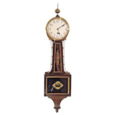 Vintage Waterbury Willard No 1 Banjo Clock Time Only Flemish Oak Case Running Weight Driven