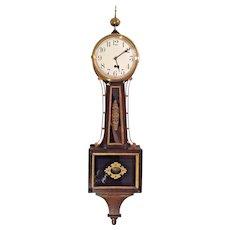 Vintage Waterbury Willard No 1 Banjo Clock Time Only Flemish Oak Case Running Weight Driven