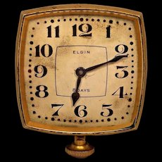 Vintage Elgin Automobile Clock Runs  Elegant Gold Colored Case and Unique Shape