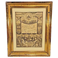 Antique Engraved Birth Certificate Catherine Dietrich (Althouse) 1836 Berks County PA in Frame