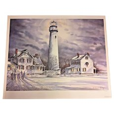 Vtg James McGlynn Limited Edition Print # 21/900 Fenwick Island Lighthouse 1994