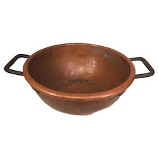 Antique Copper and Iron Hand Wrought Bowl Heavy Gauge Copper Bowl 2 Handles