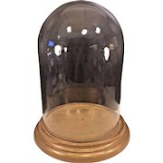 Antique Large Glass Display Dome on Gilt Wood Base on Legs