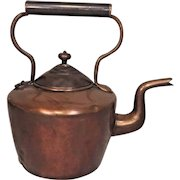 Antique Copper Tea Kettle Some Solder Repairs Along Back and Bottom Nice Gooseneck Spout