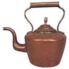 Antique Copper Tea Kettle Nice Goose Neck Spout