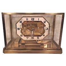 German Art Deco Chime Clock Glass Case Cuckoo Clock Co Westminster Chimes Runs & Strikes 9 Strike Rods