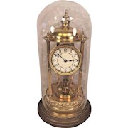 Vintage Glass Dome Anniversary Clock Porcelain Face with Torsion Pendulum Not Running