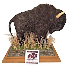 Bison/Buffalo Figure Made of Sheep's Wool & Plaster   on Wood Base Done by Buffalo Field Campaign w/ Booklet by the Maker, Martha  Made of Natural Materials