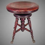 Antique Charles Parker Co Piano Stool  Meridin CT   Adjustable Height Seat  Glass Claw Feet