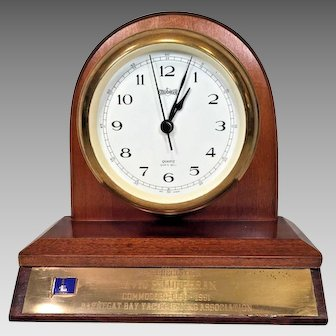 Ships Bell Clock by Stockburger w/ Wood Base Quartz Movement Running & Striking Made in Germany