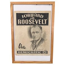 Franklin Delano Roosevelt Presidential Campaign Poster in Frame 1933