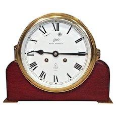 Schatz Royal Mariner Ships Bell Clock w/ Wood Base Runs Strikes  7 Jewels 8 Day