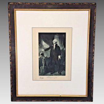 Etching of George Washington in Wood Frame 1901  The Gravure Company of America After Famous Gilbert Stuart Painting
