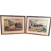 Framed 1830 US Navy Scenes Werner Chromolithograph Prints Copyright 1899