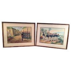 Framed 1830 US Navy Scenes Werner Chromolithograph Prints Copyright 1899