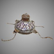 Middle Eastern Fat Oil Hanging Lamp Metal & Blue Detailed Stoneware 19th Century