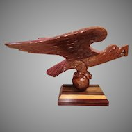 Vintage Carved Eagle with Wood Base Michael Mckee Artist Noted with Plate on Base