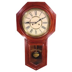 Ansonia Long Drop Regulator Clock Runs and Strikes Made in China