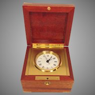 J E Caldwell Quartz Clock in Wood Case with Brass Corners Runs Swiss Made by Matthew Norman