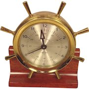 Vintage Swift Instruments Keywound Brass Ship's Wheel Clock Runs Swiss Movement  Boston MA Wood Base