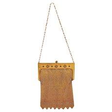 Vintage Metal Mesh Purse Bag Gold Colored Nicely Detailed