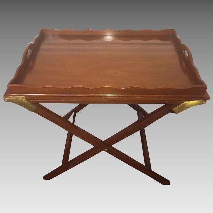 vtg baker mahogany party butler table double fold out top tray brass
