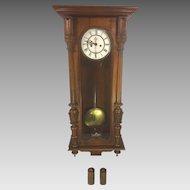 Antique Gustav Becker Vienna Wall Regulator Clock Running & Striking 1886