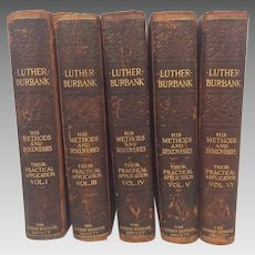 Set of 5 (of 12) Volumes of Luther Burbank Books His Methods and Discoveries and Their Practical Applications (Plant Life) 1st Edition 1914 Leather Bound