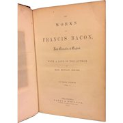 Antique Set of Books Works of Francis Bacon Lord Chancellor of England 3 Volumes 1857 Parry & McMillan Philadelphia