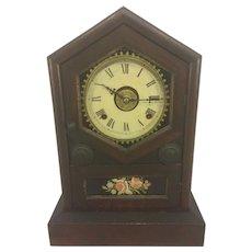 Antique Jerome Wood Steeple Clock w/ Reverse Painted Glass Tablet Runs w/ Alarm