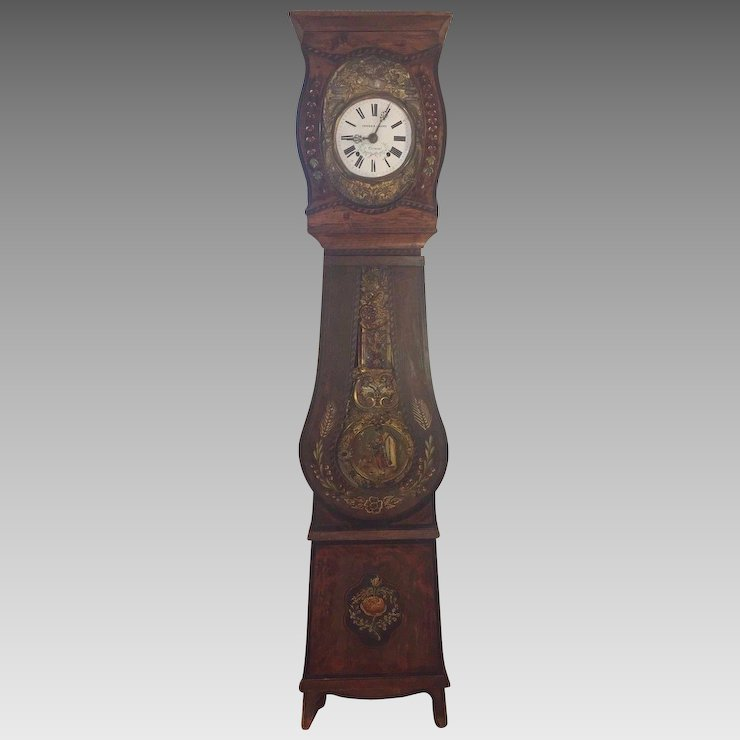 Antique French Morbier Grandfather Clock Wag On Wall Circa 1870s To