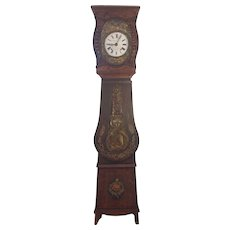 Antique French Morbier Grandfather Clock Wag on Wall Circa 1870s to 1880s Not Running