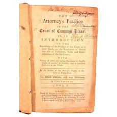 Antique Book The Attorneys Practice in the Court of Common Pleas 3rd Edition 1758 Owned by Delaware US Senator John Clayton