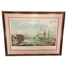 Vintage John Stobart Ltd Ed Print San Francisco Vicar of Bray in Yerba Buena Cove  1975 Signed Framed & Matted #119 of 750
