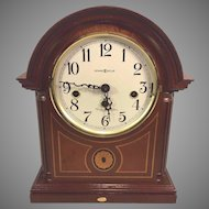 Vintage Howard Miller Mantel Clock  Barrister Model 613-180 Inlaid Wood Case Runs Strikes Westminster Chimes  AJK Kieninger Movement Germany