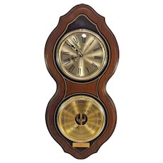 Vtg Bulova Quartz Clock (Runs) and Operating Barometer Wall Set Wood Case