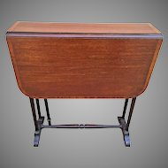 Antique Banded Mahogany Drop Leaf Table No Maker Mark One of Leaf Legs Missing