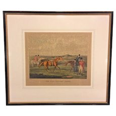 19th Century Horse Racing Lithograph Engraved by H Alken & T Sutherland  The High Mettled Racer - In Training Matted & Framed by Newman Galleries Philadelphia PA
