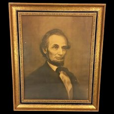 Antique Lithograph of Abraham Lincoln 1866 William Edgar Marshall Publ by Ticknor & Field NY