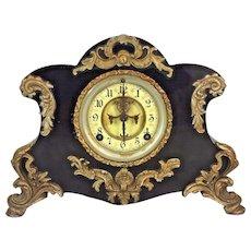 Antique Ansonia Clock w/ Porcelain Face Cast Iron Case No Pendulum Not Running