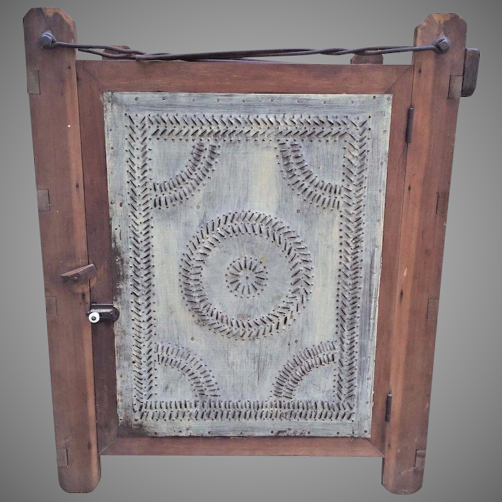 Antique 19th Century Hanging Pie Safe with Metal Hangers & Shelves  Mittinger Family Berks Co PA Latter 1800s