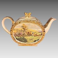 Antique Sadler Porcelain Teapot w/ Lid Gold Gilt Hunt Scene Pattern #1713 Made in England